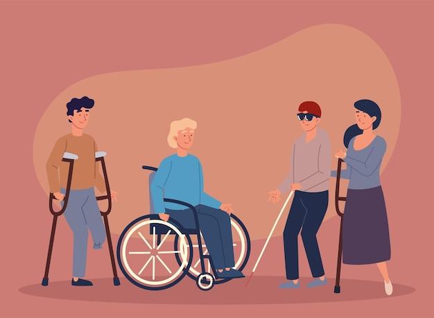 Persone di gruppo disabili