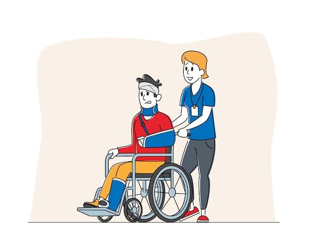 Personaggio maschile disabile con sedia a rotelle di guida della gamba e della mano rotta