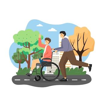 Uomo disabile utilizzando sedia a rotelle godendo passeggiata nel parco cittadino con il suo amico, illustrazione vettoriale piatta. giovane che spinge sedia a rotelle.
