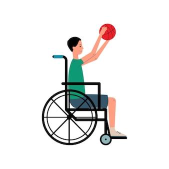 Uomo disabile in sedia a rotelle che gioca l'illustrazione piana di vettore del gioco di sport isolata