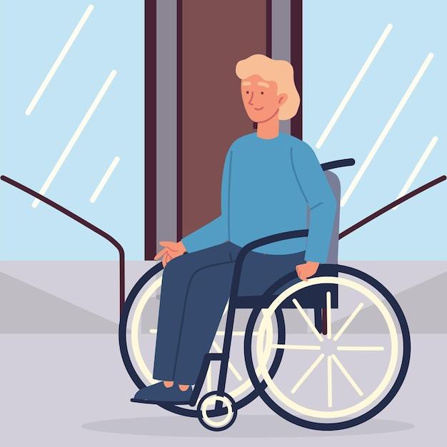 Uomo disabile in sedia a rotelle