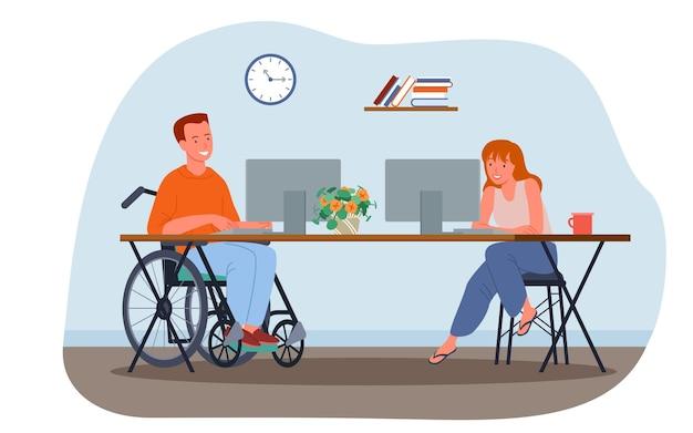 Uomo disabile che lavora in ufficio giovane dipendente disabile in sedia a rotelle