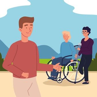 Uomini disabili e volontari
