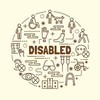 Set di icone di linea sottile minimale disabilitato