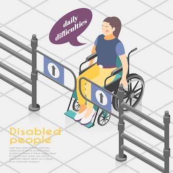 Composizione isometrica nell'illustrazione di difficoltà delle persone disabili con la donna legata alla sedia a rotelle incapace di aprire i cancelli d'ingresso