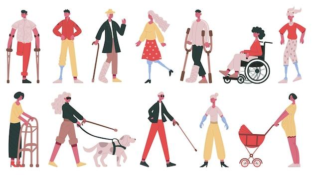 Persone disabili. personaggi portatori di handicap, ciechi, sordi, persone su sedia a rotelle, con set di illustrazioni vettoriali per braccia e gambe protesiche. personaggi adulti. sedia a rotelle e portatori di handicap, protesi artificiale