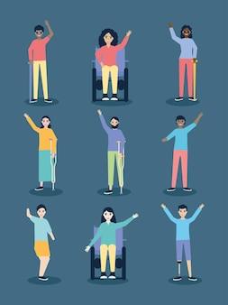 Disegno del set di icone di persone disabili