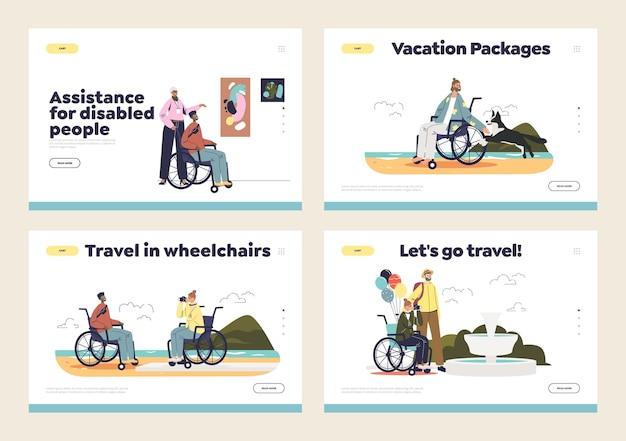Le persone disabili viaggiano in sedia a rotelle concetto di set di pagine di destinazione con turisti portatori di handicap.