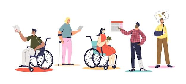 Disabili in attesa del pagamento dell'assegno di invalidità. uomini e donne invalidi e assicurazione finanziaria e concetto di supporto. cartoon piatto illustrazione vettoriale