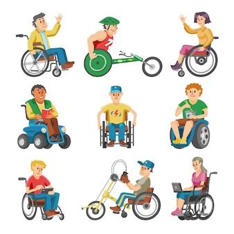 Disabili in sedia a rotelle carattere di portatori di handicap con disabilità fisica illustrazione set di uomo invalido seduto su una sedia a rotelle con isolato su sfondo bianco