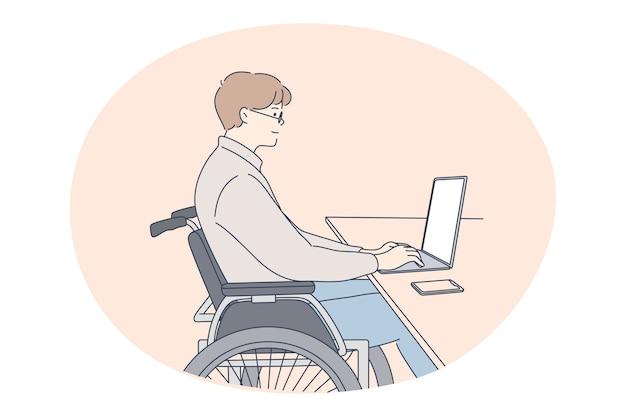 Disabili su sedia a rotelle che vivono il concetto di stile di vita attivo felice