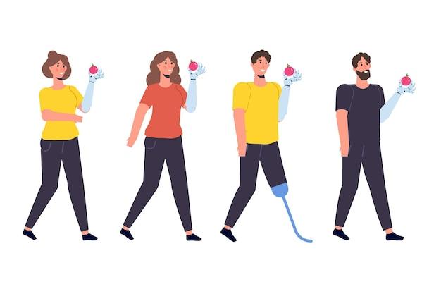 Disabili con disabilità e protesi. personaggio con un braccio bionico. illustrazione vettoriale