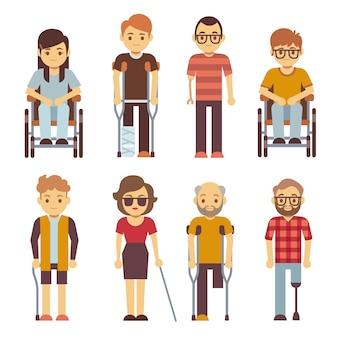 Le persone disabili vector icone piane Vettore Premium