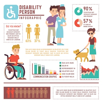 Disabili e pensione persona vettore infographic
