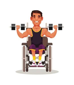 Personaggio sportivo disabile seduto su sedia a rotelle e facendo esercizio con manubri