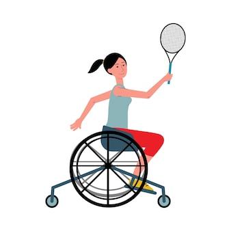 Personaggio dei cartoni animati di donna disabile in sedia a rotelle che gioca a tennis attività sportiva di persone invalide disabili.