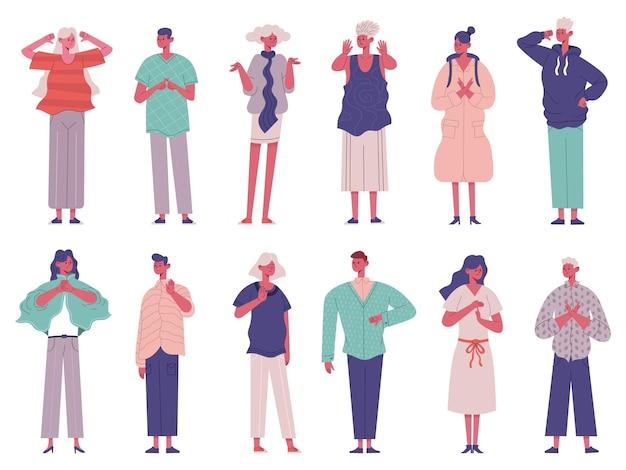 Non sono d'accordo con le espressioni dei segni del gesto di rifiuto negativo delle persone. insieme dell'illustrazione di vettore dei caratteri di lingua dei segni non sono d'accordo. persone con gesti di stop o disaccordo