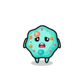 Espressione delusa del cartone animato ameba, design in stile carino per maglietta, adesivo, elemento logo