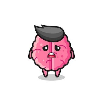 Espressione delusa del fumetto del cervello, design in stile carino per maglietta, adesivo, elemento logo
