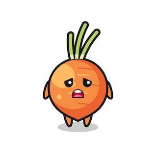Espressione delusa del cartone animato carota, design in stile carino per maglietta, adesivo, elemento logo