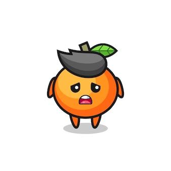 Espressione delusa del cartone animato mandarino, design in stile carino per maglietta, adesivo, elemento logo
