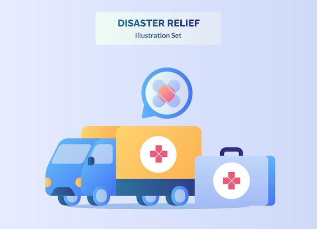 Il furgone del camion di concetto di soccorso in caso di calamità trasporta il dispositivo medico