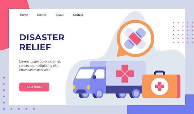 Il furgone del camion di soccorso in caso di calamità trasporta la campagna di dispositivi medici per la pagina di destinazione della home page del sito web