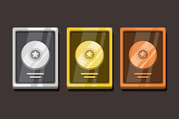 Disc award collezione di obiettivi golden silver e bronze ambientata in un cartone animato Vettore Premium