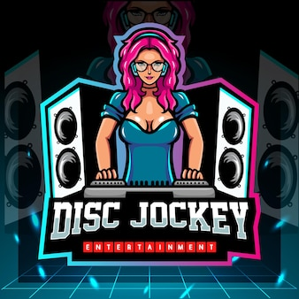 Mascotte del disc jockey. design del logo esport