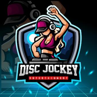 Design del logo esport della mascotte del disc jockey Vettore Premium