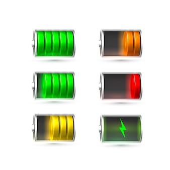 Batteria scarica e completamente carica. illustrazione vettoriale. sfondo bianco