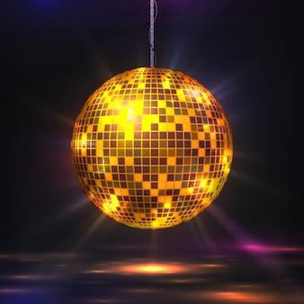 Palla da discoteca. elemento luminoso per feste anni '80, sfera glitter futuristica retrò per musica e feste notturne da ballo. sfera di struttura dello specchio dell'illustrazione di vettore con gli effetti leggeri del bokeh