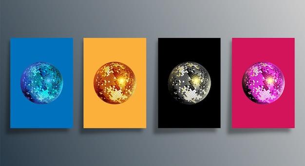 Palla da discoteca in vari colori. set di poster retrò mirrorball.