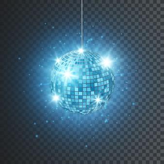 Discoteca o sfera dello specchio con raggi luminosi