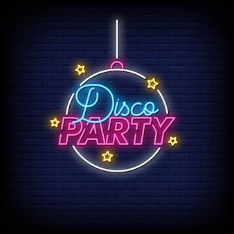 Vettore del testo di stile delle insegne al neon del partito di discoteca