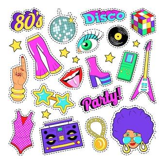 Elementi di moda retrò festa in discoteca con chitarra, labbra e stelle per adesivi, toppe, distintivi. doodle di vettore