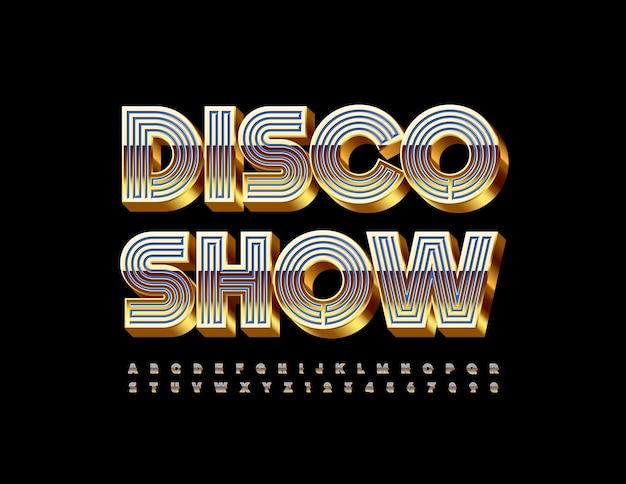 Set di lettere e numeri dell'alfabeto in stile labirinto spettacolo discoteca caratteri 3d blu e oro