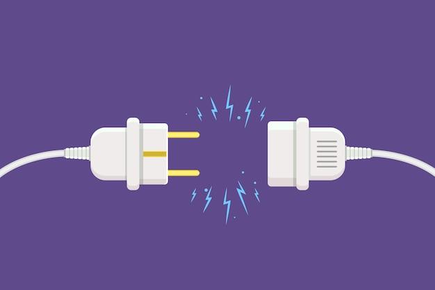 Scollegare la spina con scintilla elettrica in stile piatto