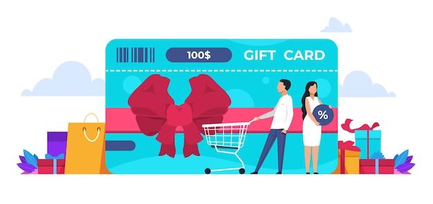Concetto di sconto. programma di fidelizzazione al dettaglio, sconto del negozio online e concetto di premi con la gente dei cartoni animati. immagine di disegno vettoriale