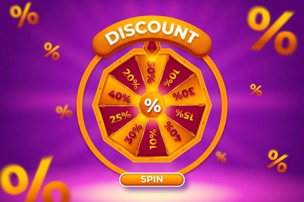 Sconto rotazione della ruota della fortuna con sfondo oro viola