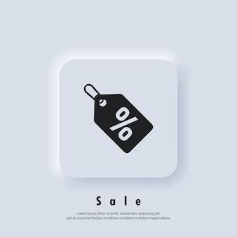Icona del cartellino del prezzo di vendita di offerta di sconto. logo del cartellino del prezzo di vendita. etichetta piatta, simbolo di liquidazione, adesivo con tag di vendita di liquidazione dell'affare speciale. vettore. icona dell'interfaccia utente. pulsante web dell'interfaccia utente di neumorphic ui ux bianco.