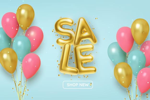 Sconto promozione vendita fatta di palline d'oro realistiche con palloncini rosa e oro