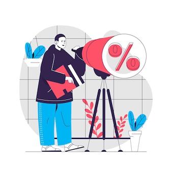Illustrazione del concetto di vendita di sconto
