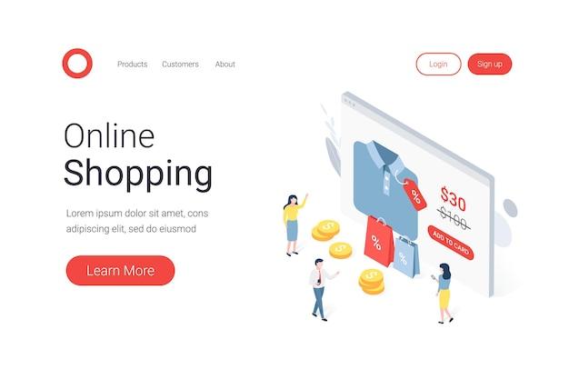 Vendita di sconto, concetto isometrico dello shopping online con personaggi.