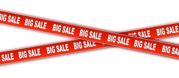 Sconto e vendita set di nastri vettoriali nastri nastri sconto rosso nastro di avvertenza con grande vendita