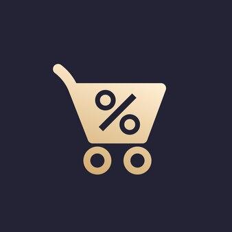 Sconto, offerta speciale, vendita di liquidazione, icona vettoriale tutto esaurito
