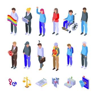 Discriminazione set di icone vettore isometrico. brutalità della polizia