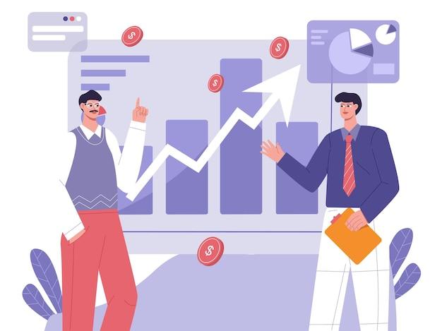Discutere la strategia di marketing aziendale e l'illustrazione piatta del profitto