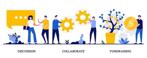 Discussione, collaborazione, concetto di raccolta fondi con persone minuscole. set di banner web di lavoro di squadra e coworking. conferenza d'affari online, metafora di investimento di denaro.