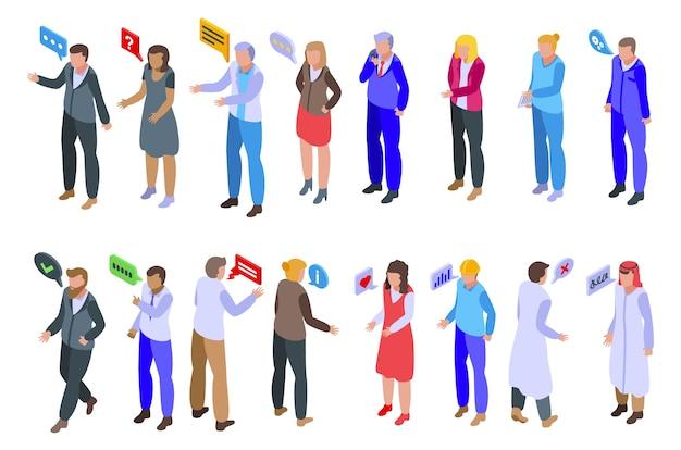 Set di icone di discussione. insieme isometrico delle icone di discussione per il web isolato su priorità bassa bianca
